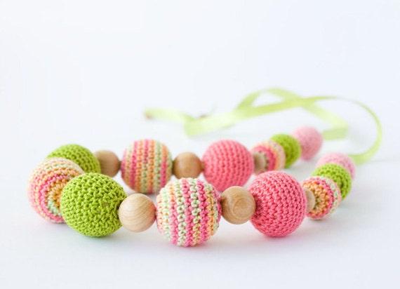 Mallow Nursing/ Breastfeeding Necklace - Pink, Chartreuse - Babywearing, Teething Jewelry, Baby Shower Gift, Eco-Friendly - FrejaToys