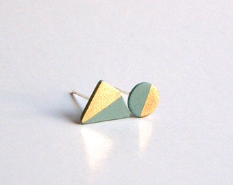 Porcelain stud earrings- pastel turquoies, gold, asymmetrical small geometric post earrings studs, gift for her