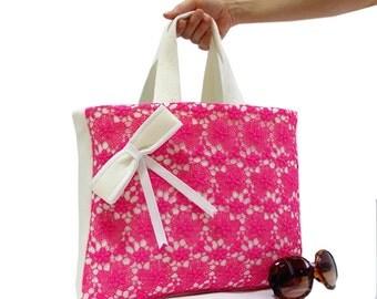Lace Tote Bag, Pink, White, Crochet Lace, Pink Lace, Pink Bag, Neoprene, Bow, Tablet Bag, Pocket bag, Soft bag, Medium