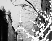 New York  photography, Empire State Building, Bokeh, black and white - fine art photograph