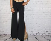 Womens Wide Leg Pants Side Slits black Jersey knit palazzo boho maxi dress flares bells yoga