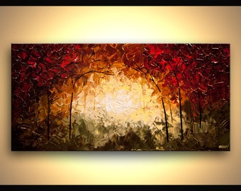 """Into the Forest CANVAS PRINT 40""""x20"""" Stretched Ready-to-Hang  & Embellished  - Art by Osnat"""
