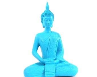 buddha statues, zen, turquoise, home decor, asian art, buddha art, sitting buddha