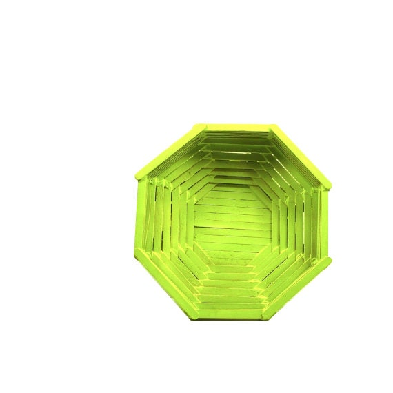 Geometric Wood Basket Neon Home Decor Olive Green By Nashpop
