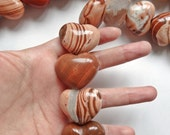 Perfect for Valentine's Day Large Chunky Red Jasper Puffy Heart Beads HALF strand N2796