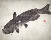 BLUE CATFISH gyotaku print (Amerika no Namazu) - traditional Japanese fish art Discontinued & Discounted