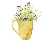 Pansy Watercolor Print, Wild Pansy Print, Summer Floral, Garden Bouquet of Viola tricolor and Verbena, Painting of Yellow and Purple Pansies