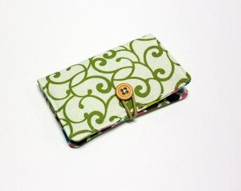 Squash Blossom Swirls Fabric Business Card Holder, with Roco Beat Ornamental - Credit Card Holder, Cloth Card Holder, Gift Card Holder