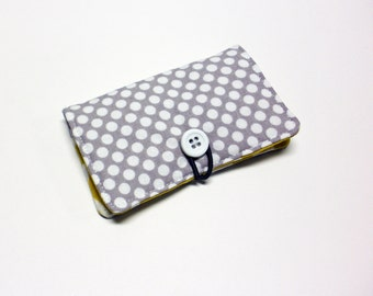 White Dots on Grey Fabric Business Card Holder, with Mustard Yellow Lattice - Credit Card Holder, Cloth Card Holder, Gift Card Holder