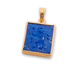 Lion Pendant Heraldic Lapis Handmade Gold Plated Sterling Silver 925