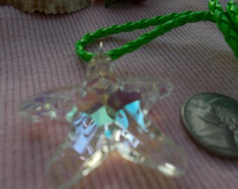Neon Green Crystal Starfish Necklace