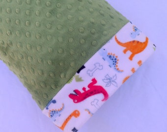 Toddler Child Minky Pillowcase - Travel Size Pillow Covering - 12 x 16 Green Dot Minky With Dinos For Your Little Dinosaur - Ideas For Kids