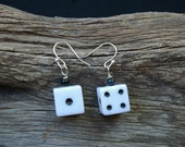 Game On Tiny White Dice Earrings