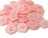 "10 Carved Light Pink Flower Buttons - Medium size 11/16"", 18mm, 2 holes, soft baby pink color, great for baby showers, scrapbooks, cards"