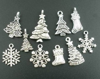 10 Christmas Holiday Theme Charms, Silver tone, solid metal, assorted sizes, 1 piece of each design included, trees, stockings, snowflakes