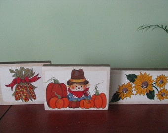 Scarecrow, Blocks, Indian Corn, Sunflowers, shelf sitters, fall, fall decor