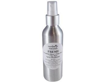 FRESH Geranium Rose, Lime Peel & Tea Tree Spray Deodorant - Natural and Organic - Aluminum Free - Bacteria and Odor Fighting Essential Oils