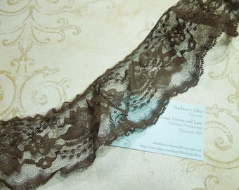 1 yard of 3 inch Brown Ruffled Chantilly Lace trim for bridal, baby, altered couture, lingerie by MarlenesAttic - Item JJ4