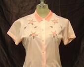 Vintage 50s Pink Nylon Blouse Silky Velvet Collar Small