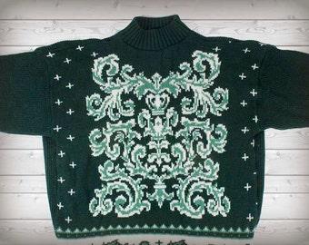 Green Scrollwork Turtleneck Sweater