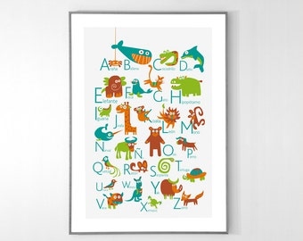 Spanish Alphabet Poster with animals from A to Z, BIG POSTER 13x19 inches - Baby Children Nursery Custom Wall Print Poster