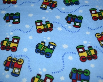 Blue Choo Choo Snuggle Flannel 100% Cotton 1 Yard Sewing and Quilting