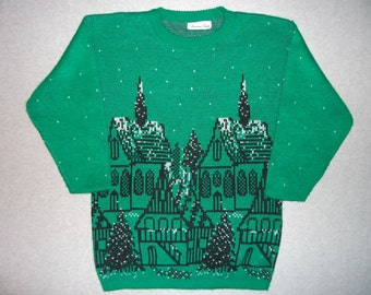 Winter Wonderland Vintage 80s Sparkle Green Sweater Town Village Snowing Tacky Gaudy Ugly Christmas Sweater Party X-Mas L Large XL Extra