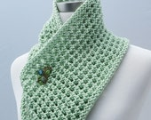 Green Knit Scarf, Mint Green Infinity Scarf, Summer Fashion Accessory