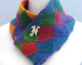 Hand knit multicolored infinity scarf / cowl