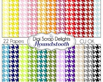 Houndstooth Digital Scrapbook Paper for Commercial Use, 22 Colors Instant Download