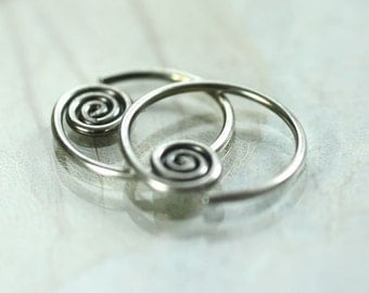 Sterling Silver Sleeper Hoops with Celtic Spiral Detail - Sideways