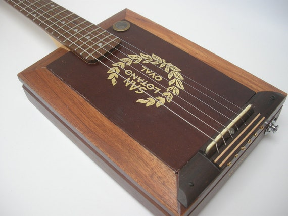 Rockwood Oval Cigar Box Guitar Acoustic/ Electric handmade Ooak Custom Wooden Instrument