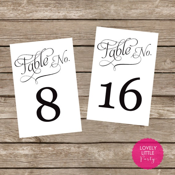 Printable Blakeley table numbers for weddings, showers and parties - Lovely Little Party - You Choose Color