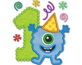 Applique Machine Embroidery Design Monster Number 1 for Happy Birthday Boys HB006