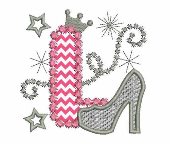 This Would Be Cute To Change Into The Welcome Letter To: Pink Silver Letter L High Heel Shoe For Cute Girls Applique