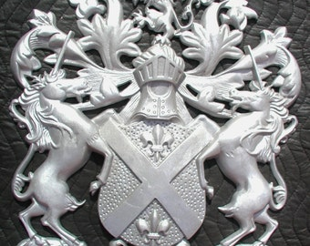Rampant Scottish Lions with Unicorn,Plaque,Shield, Crest,Coat of Arms,Cast Aluminum