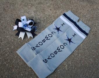 Dallas Cowboys Bow & Leg Warmers Set,  Infant/ Toddler Leg Warmers, Adult Arm Warmers