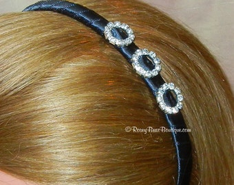 Many Colors!  Black Satin Ribbon Wrapped Headband with Rhinestone Charms - Dressy Satin Ribbon Headband - RoseyBow® Rhinestone Head Band