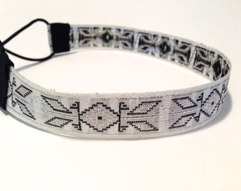 White, Silver, and Black Embroidered Tribal Headband