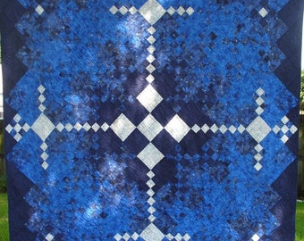 REDUCED - 30% OFF Blue and White Diamonds Queen Sized Quilt