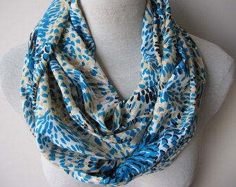 Petroleum blue beige fabric infinity scarf- women's scarves-tube-loop-circle-woman fashion accessories scarves-gifts for her-floral scarf