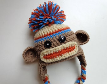 Ready to Ship- Newborn Crochet Sock Monkey Hat- Photo Prop- Blue and Orange