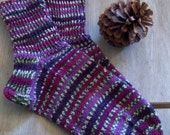Heather -Hand knit wool socks, Womens/ mens/ teens/ boys cosy boot socks, lilac, green, nature, machine wash, gift idea, Handmade in FINLAND