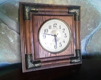 Working Oak Wood Clock, Wall Clock, Brass and Glass, Steampunk, Brass Accent, New Haven, Quartz, Battery Powered