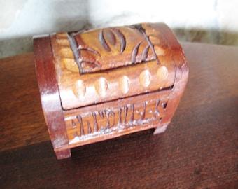 Carved Wooden Ring Box, Trinket Box, Treasure Box, Doll, BJD, Tropical Wood, Small, Hinged Lid