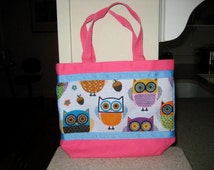 Girl's Pink & Blue Owl Tote Bag. Lunch Bag, Pink Purse