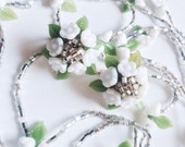 Vintage Vogue Necklace & Earring Set, Silver Glass Beads, Flower Jewelry, Vintage Necklace Set
