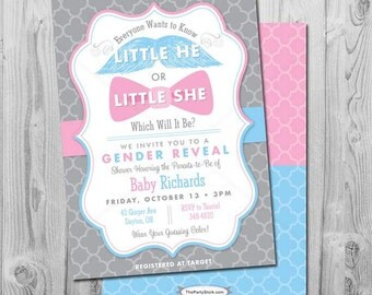 Little He or Little She Gender Reveal Invitation: Printable Baby Shower Invite with mustache and bow, blue, pink, more Invitations available