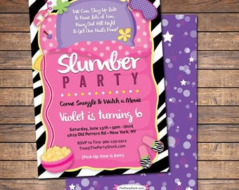 Slumber Party Invitation, Sleepover Invitation, Sleepover Party Invitation, Pajama Party Invitation, Girls Sleepover Birthday Invitation
