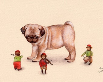Pug Puppy and Wind Up Monkeys art print from an original illustration by Irene Owens